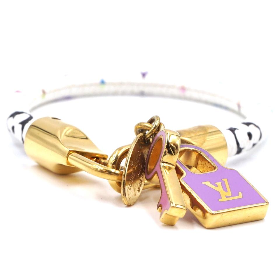 Louis Vuitton Multicolor Monogram Lock Key Charm Bracelet