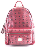 MCM Backpack Red Python Pattern Canvas