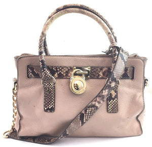 Michael Kors Hamilton East West Python and Pink Leather
