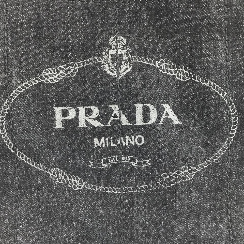Prada Dark Blue Denim Canapa Tote