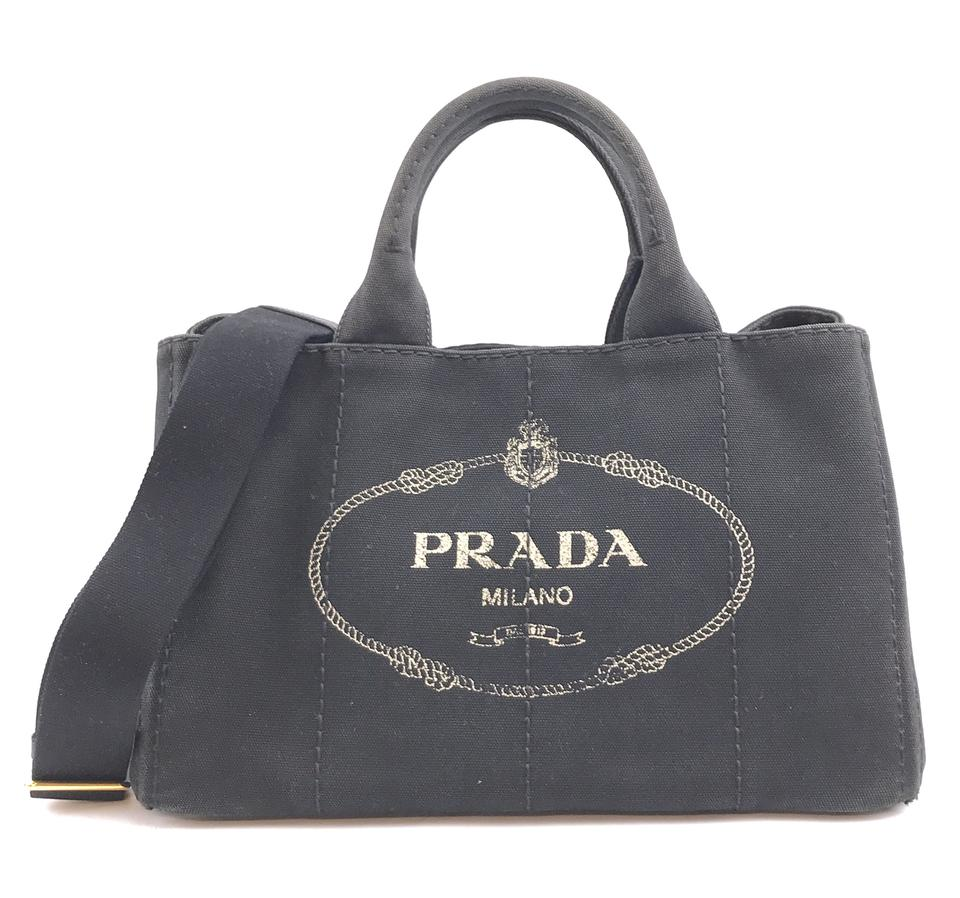 Prada Canapa Handbag Black Denim