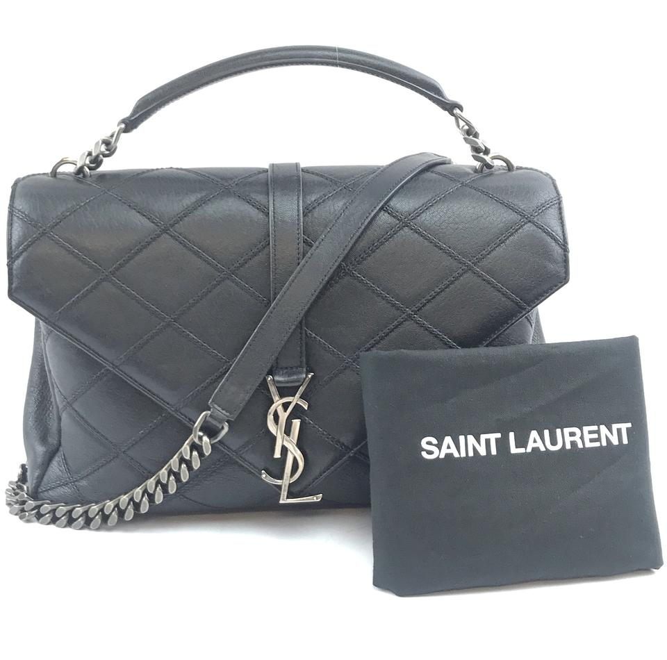 Saint Laurent Large College Monogram Black Leather Bag