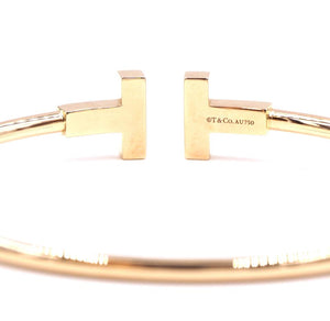 Tiffany & Co. 18K 750 T Wire Logo Cuff