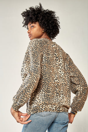 Oversized Sweatshirt - Brown Leopard