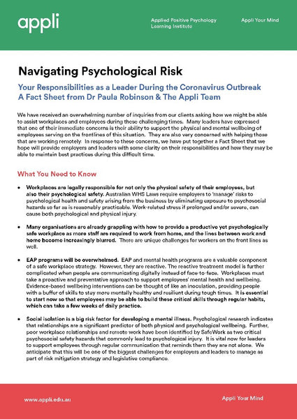 Navigating Psychological Risk - Free Factsheet
