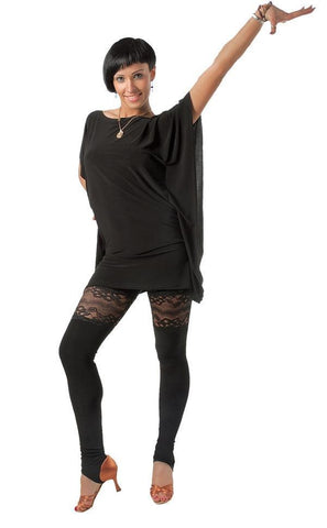 Lace Women's Dance Leggings - Tight Fit Workout Clothing Will Not Bunch or Pill - Medium/Large - Black by Talisman - ROBD Elite Studios
