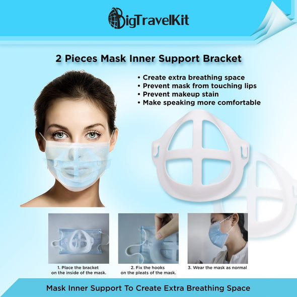Big Travel Kit with Individually Wrapped Masks, Hand Wipes, Mask Extender, Mask Support Bracket and No-Touch Keychain Tool