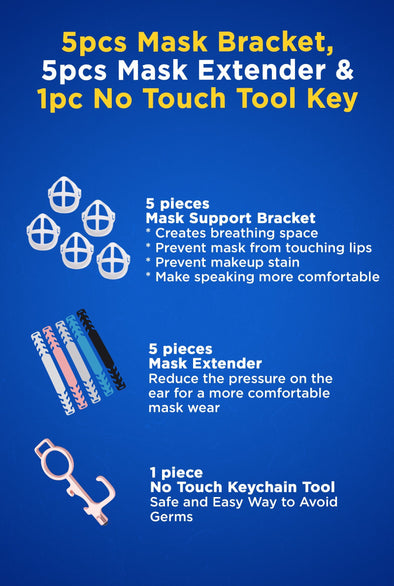 3D Mask Protector, Mask Extender, Nose and Mouth Bracket Mask Inner Support Frame with No-touch Keychain Tool (11 pcs)
