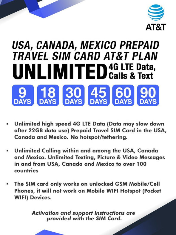 AT&T Prepaid Brand USA, Canada and Mexico Prepaid Travel SIM Card Unlimited Call, Text and 4G LTE Data for 45 days