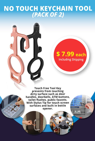 No-Touch Keychain Tool and door opener with stylus for surface, touch screens, handles and buttons and bottle opener