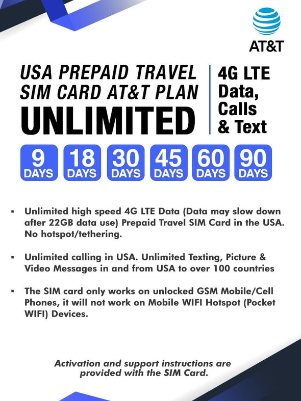 AT&T Prepaid Brand USA Prepaid Travel SIM Card Unlimited 4G LTE Data, Calls and Texts (for use in USA) (45 Days)