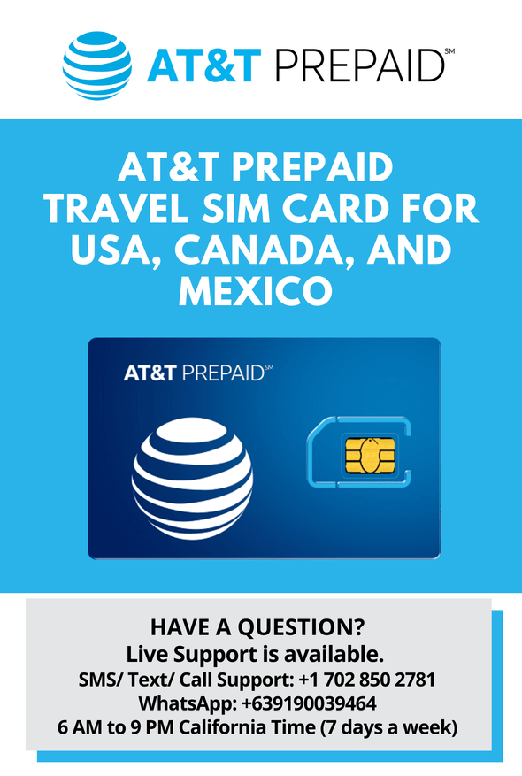 AT&T Prepaid Brand USA, Canada and Mexico Prepaid Travel SIM Card Unlimited Call, Text and 4G LTE Data - BigTravelStore