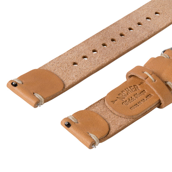 Quick Release Horween Leather - Moc/Natural, ARC-QRL2-MOCNAT22, ARC-QRL2-MOCNAT20, ARC-QRL2-MOCNAT18
