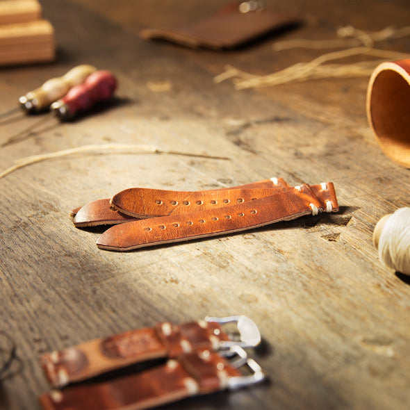 Quick Release Horween Leather - Havana Brown/Red, ARC-QRL2-BRNRED22, ARC-QRL2-BRNRED20, ARC-QRL2-BRNRED18