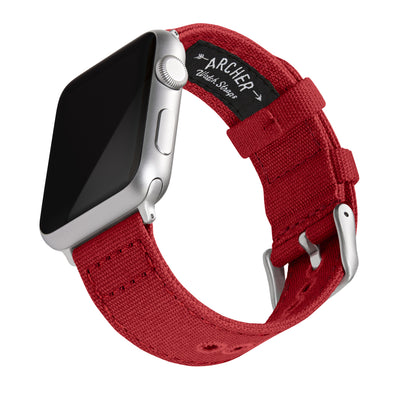 Apple Watch Canvas - Carmine Red/Silver Aluminum, ARC-AWC2-REDS42, ARC-AWC2-REDS38