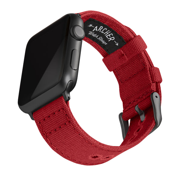 Apple Watch Canvas - Carmine Red/Space Gray, ARC-AWC2-REDG42, ARC-AWC2-REDG38