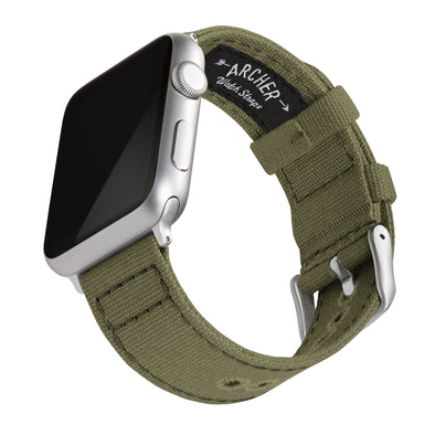 Apple Watch Canvas - Faded Olive/Silver Aluminum, ARC-AWC2-OLVS42, ARC-AWC2-OLVS38