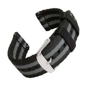 Quick Release Seat Belt Nylon - Black and Gray (James Bond), ARC-QRSB-BLKGRY22, ARC-QRSB-BLKGRY20, ARC-QRSB-BLKGRY18