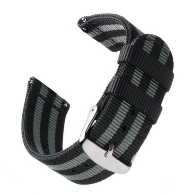 Quick Release Nylon - Black and Gray (James Bond), ARC-QRN-BLKGRY22, ARC-QRN-BLKGRY20, ARC-QRN-BLKGRY18