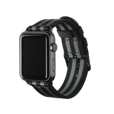 Apple Watch Nylon - Black and Gray (James Bond)/Black, ARC-AWNYL-BLKGRYB42, ARC-AWNYL-BLKGRYB38