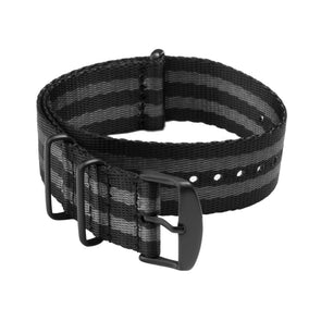 Seat Belt NATO - Black and Gray, Black Hardware, ARC-SBNATO-BLKGRYB22, ARC-SBNATO-BLKGRYB20, ARC-SBNATO-BLKGRYB18