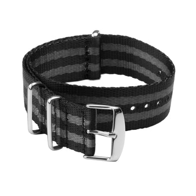 Seat Belt NATO - Black and Gray, Stainless Hardware, ARC-SBNATO-BLKGRY22, ARC-SBNATO-BLKGRY20, ARC-SBNATO-BLKGRY18