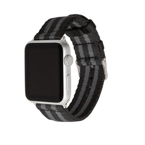 Apple Watch Seat Belt Nylon - Black and Gray (James Bond)/Stainless, ARC-AWSB-BLKGRYS42, ARC-AWSB-BLKGRYS38