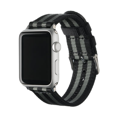 Apple Watch Nylon - Black and Gray (James Bond)/Stainless, ARC-AWNYL-BLKGRYS42, ARC-AWNYL-BLKGRYS38