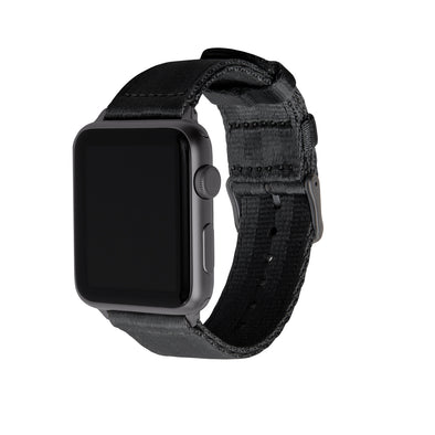 Apple Watch Seat Belt Nylon - Black/Gray, ARC-AWSB-BLKG42, ARC-AWSB-BLKG38