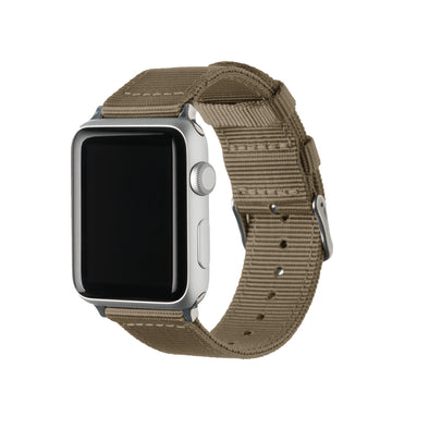 Apple Watch Nylon - Khaki/Stainless, ARC-AWNYL-KHKS42, ARC-AWNYL-KHKS38