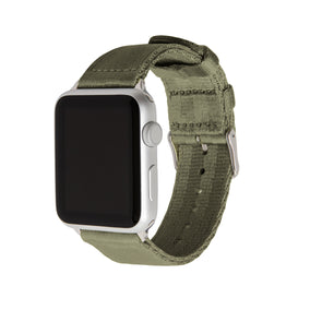 Apple Watch Seat Belt Nylon - Olive/Stainless, ARC-AWSB-OLVS42, ARC-AWSB-OLVS38