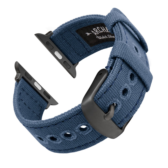 Apple Watch Canvas - Classic Denim Blue/Space Gray, ARC-AWC2-BLUG42, ARC-AWC2-BLUG38