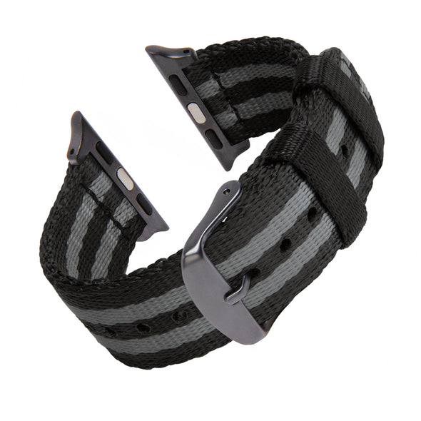 Apple Watch Seat Belt Nylon - Black and Gray (James Bond)/Gray, ARC-AWSB-BLKGRYG42, ARC-AWSB-BLKGRYG38