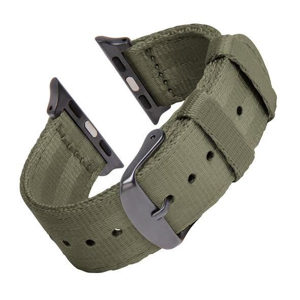Apple Watch Seat Belt Nylon - Olive/Gray, ARC-AWSB-OLVG42, ARC-AWSB-OLVG38