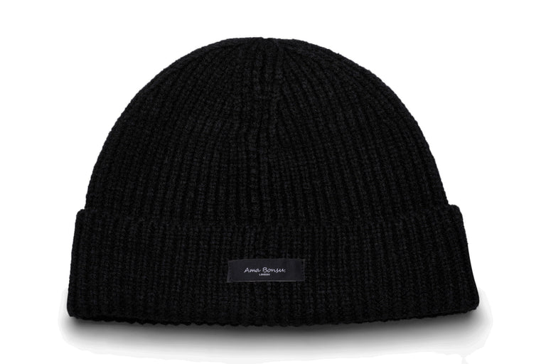 Moax Ribbed Knit Beanie - Black