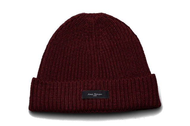 Moax Ribbed Knit Beanie - Burgundy
