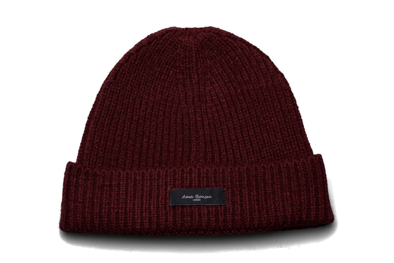 Max Ribbed Knit Beanie - Burgundy