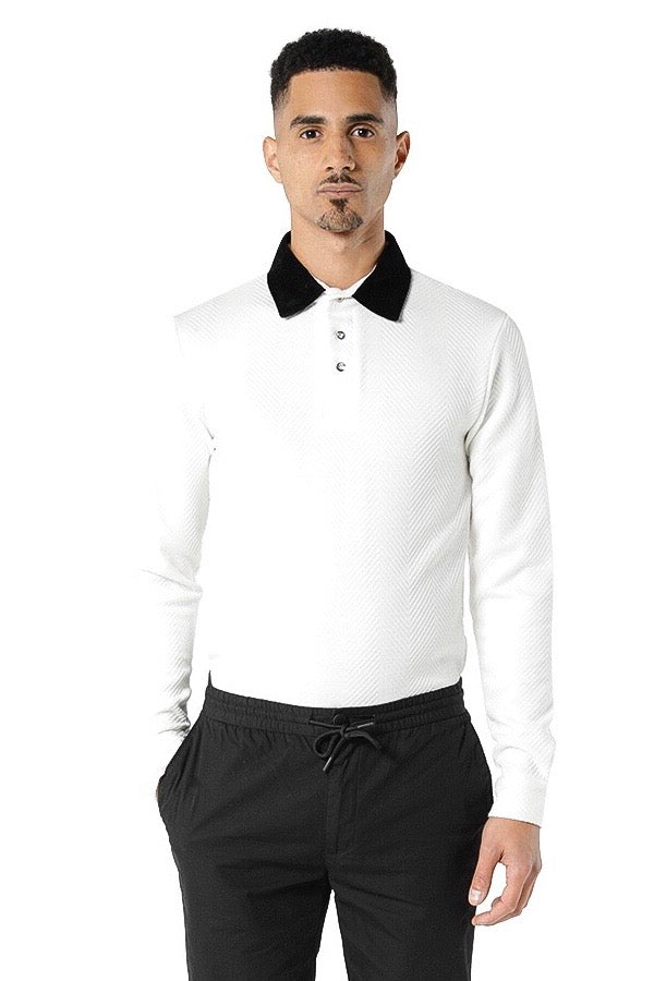 Nafri Long Sleeve Polo - White