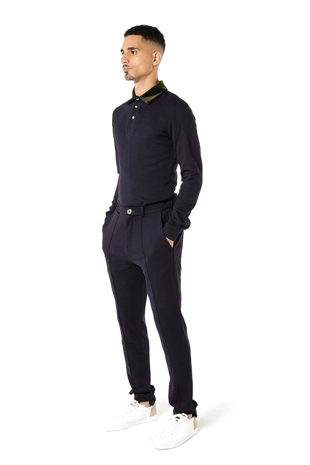 Nafri Long Sleeve Polo - Navy
