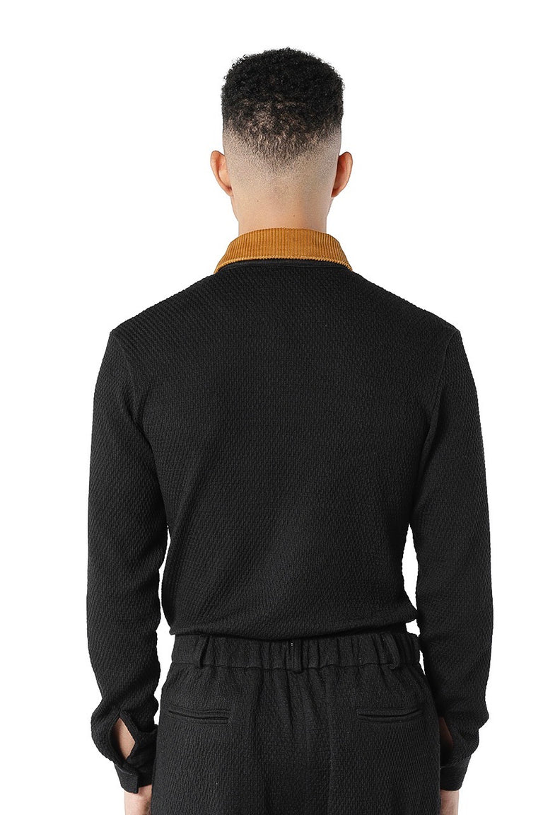 Nafri Long Sleeve Polo - Black