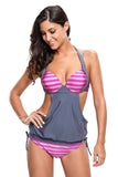 2pcs Solid Navy Splice Striped Halter Bikini Swimsuit