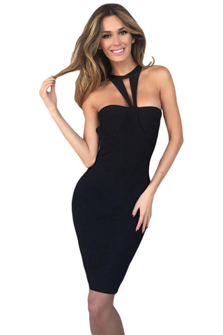 Black Strappy Cutout Halter Top Bandage Dress