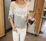 Women Crochet lace Grey Blouse