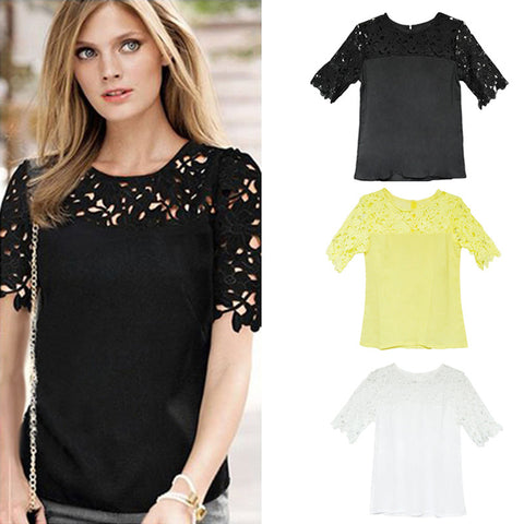 Hollow Lace Round Neck Chiffon Blouse