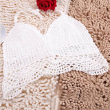 Crochet Lace Vest Crop Top Bralette Knitted Halter Boho Beachwear