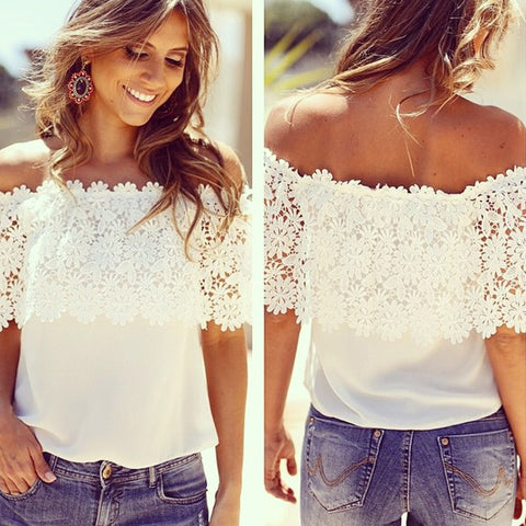 Boho Chiffon Off Shoulder Lace Blouse