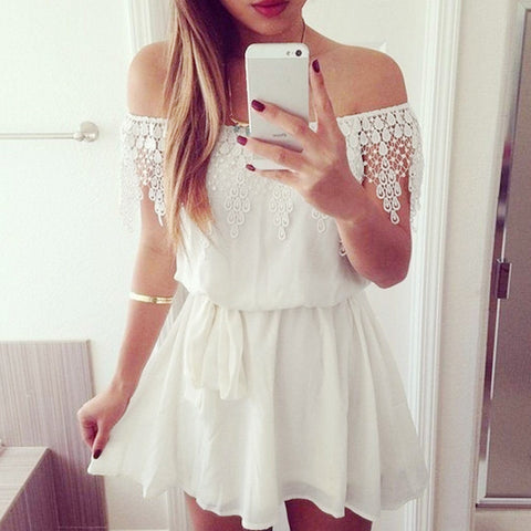 Crochet Lace Off Shoulder White Chiffon Dress