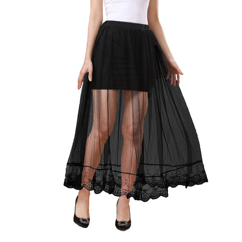 Fashion Women Sheer Mesh Skirt Elastic Waist Lining Maxi Skirt