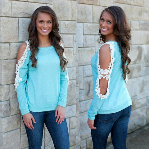 Cold Shoulder Lace Patchwork Long Sleeve Blue Blouse