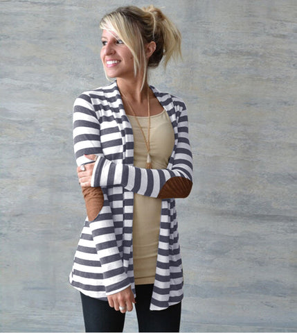 Casual Contrast Stripe Print Leather Spliced Front Patch Cardigan